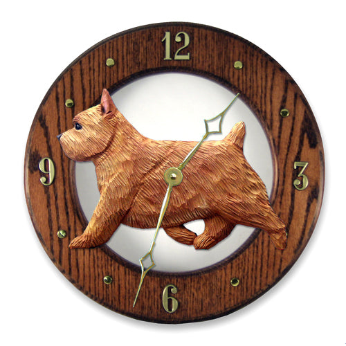 Norwich Terrier Wall Clock - Michael Park, Woodcarver