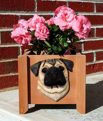 Pug Planter Box - Michael Park, Woodcarver