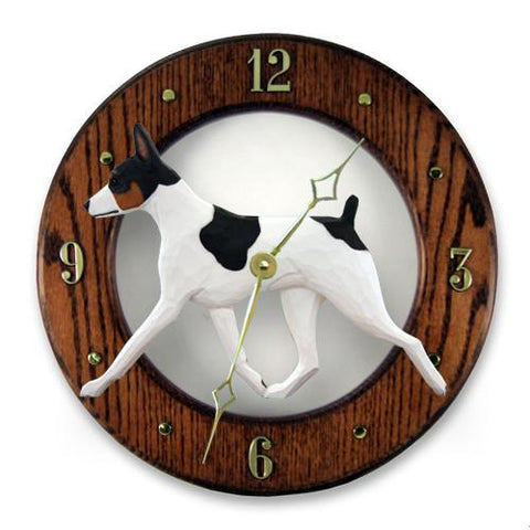 Rat Terrier Wall Clock - Michael Park, Woodcarver