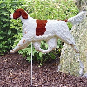 Irish Red and White Setter Garden Stake