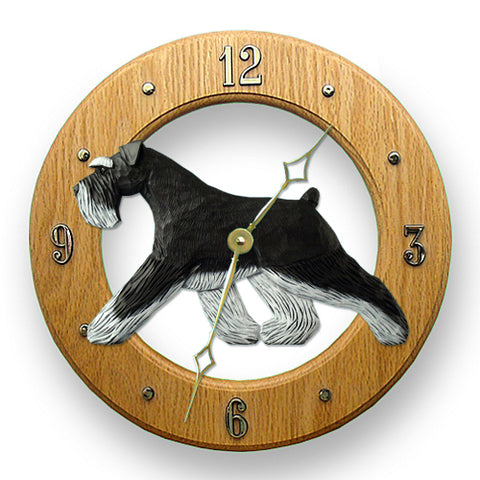 Schnauzer (Natural) Wall Clock - Michael Park, Woodcarver