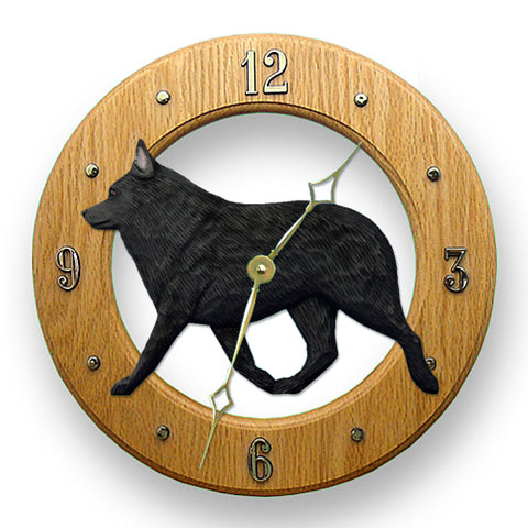 Schipperke Wall Clock - Michael Park, Woodcarver
