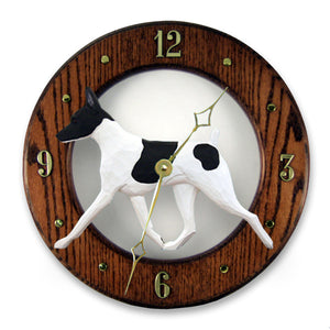 Toy Fox Terrier Wall Clock - Michael Park, Woodcarver