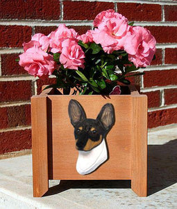Toy Fox Terrier Planter Box - Michael Park, Woodcarver