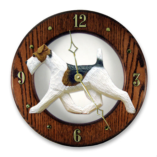 Fox Terrier (Wire) Wall Clock - Michael Park, Woodcarver