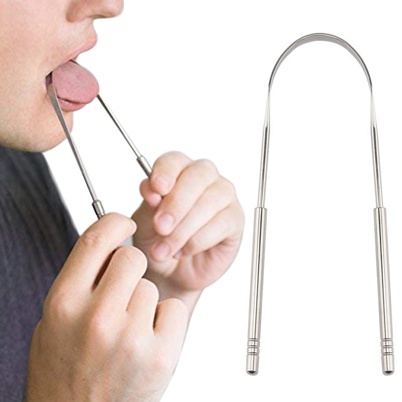 High quality Stainless Steel Tongue Scraper Cleaner Fresh Breath Cleaning Coated TongueToothbrush Dental Oral Hygiene Care Tools