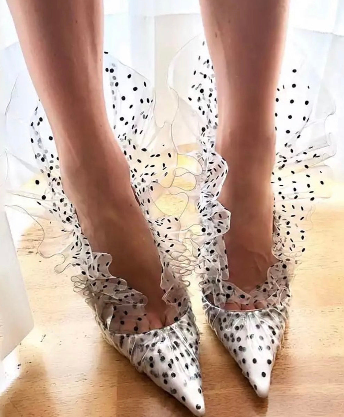 Polka Dot Black and white Heels