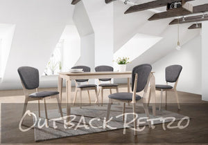 Dining Table 6 Seater Solid Rubberwood in White Washed