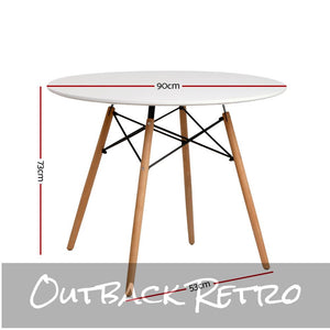 Artiss 4-Seater Round DSW Dining Table Kitchen Timber White 90cm