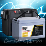 GIANTZ 120Ah Deep Cycle Battery & Battery Box 12V AGM Marine Sealed Power Solar