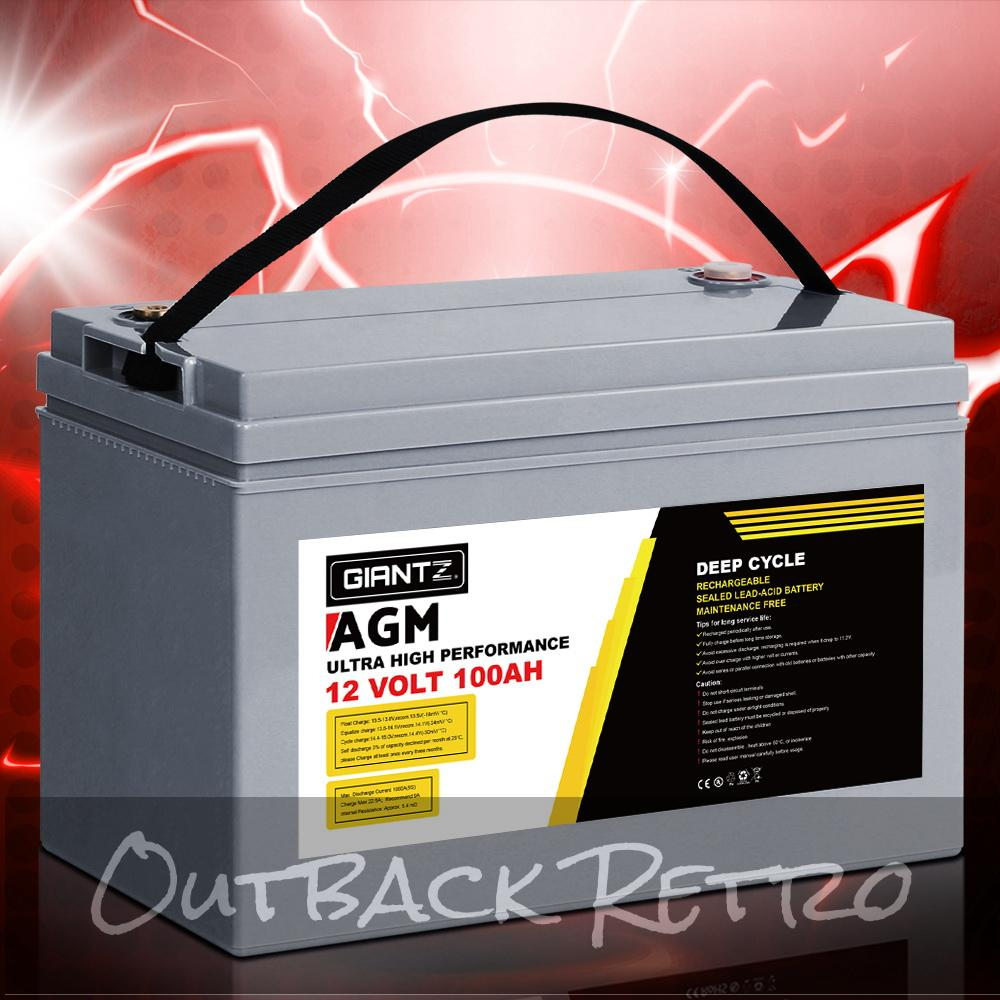Giantz 100Ah Deep Cycle Battery 12V AGM Marine Sealed Power Portable Box Solar Caravan Camping
