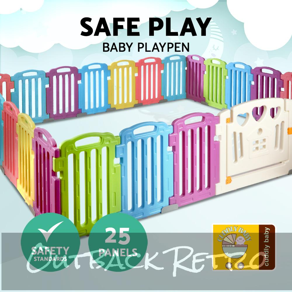 Cuddly Baby 25-Panel Plastic Baby Playpen Interactive Kids Safety Gate