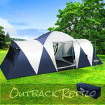 Weisshorn 12 Person Canvas Dome Camping Tent - Navy & Grey