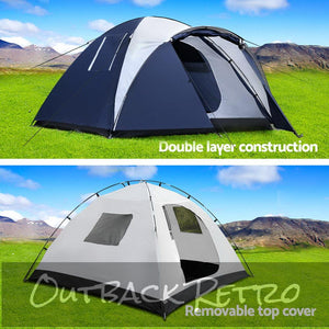 Weisshorn 4 Person Canvas Dome Camping Tent - Navy & White