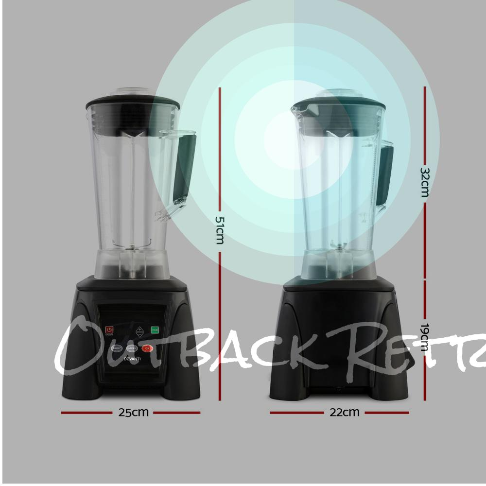 Devanti 3L Digital Commercial Blender LED Display Black