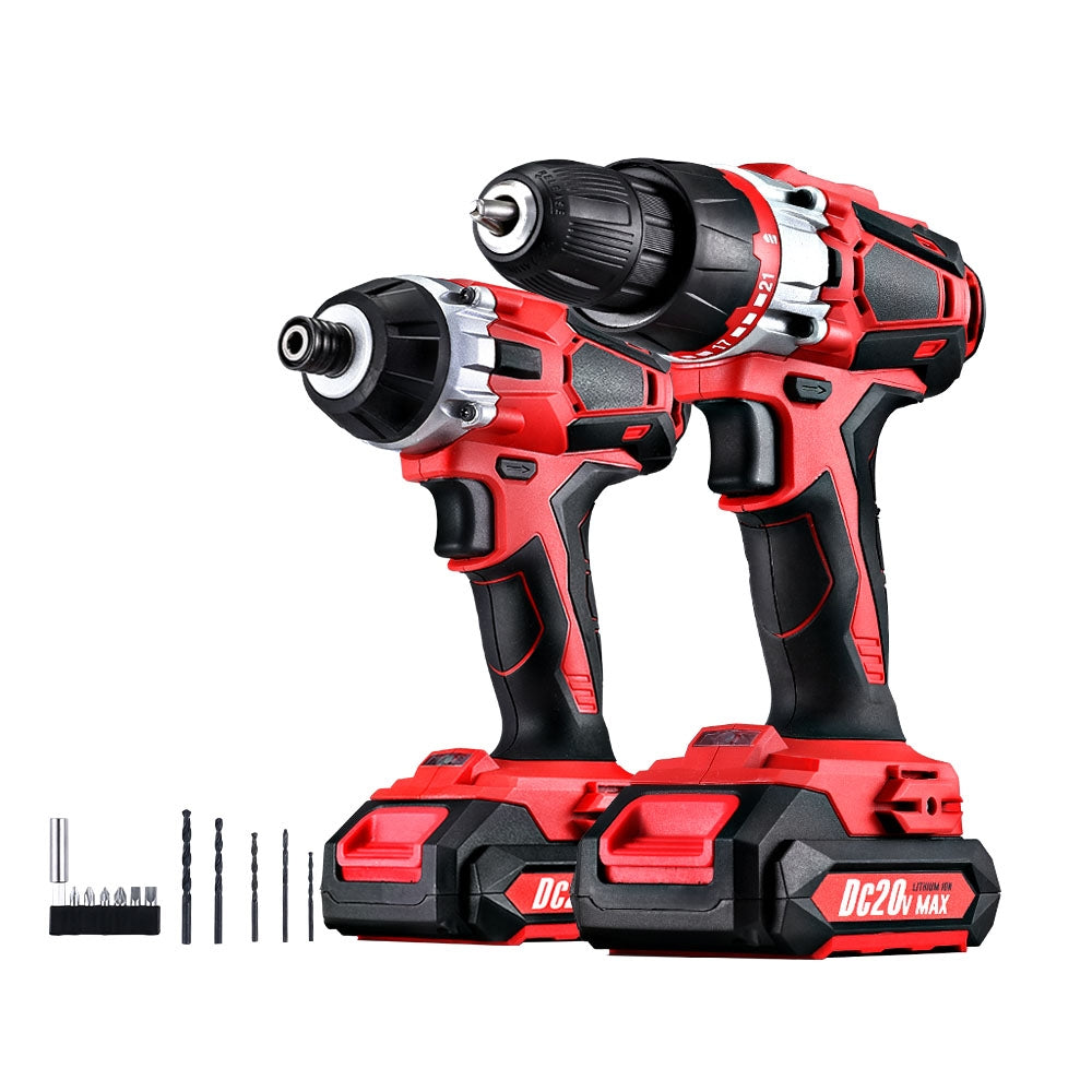 GIANTZ Cordless Impact Drill and Impact Driver 20V Lithium Drill Kit - Charger and Battery Included