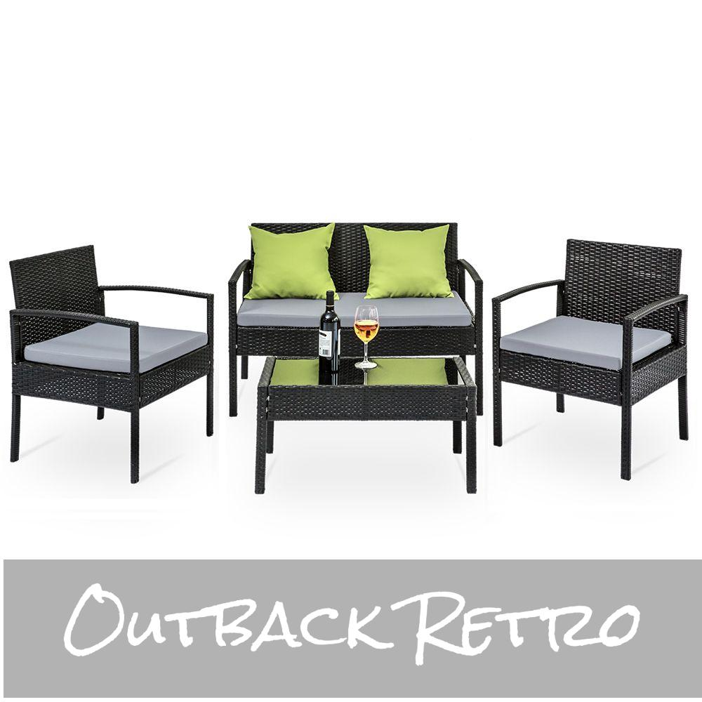 4 Seater Sofa Set Outdoor Furniture Lounge Setting Wicker Chairs Table Rattan Lounger - Black