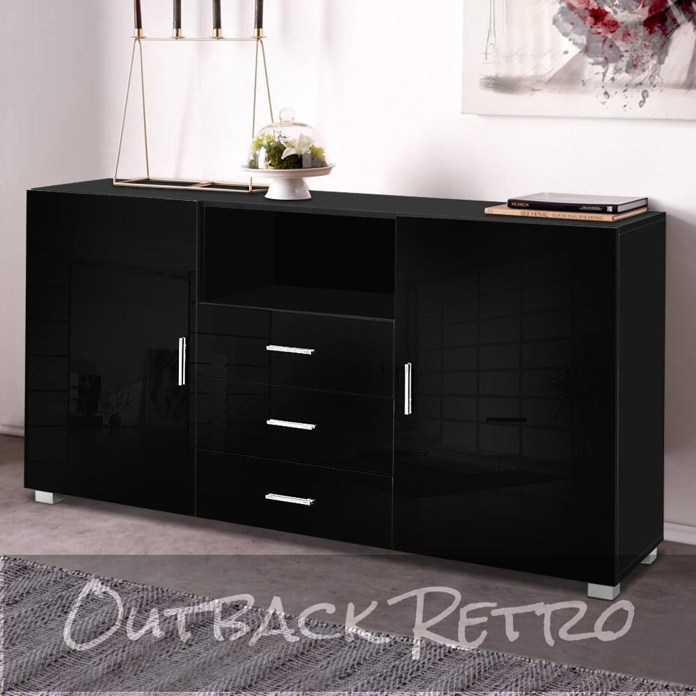 Artiss Buffet Sideboard Cabinet High Gloss Storage Cupboard Black Doors Drawers