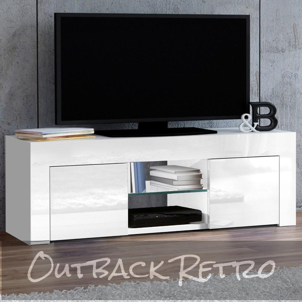 Artiss 130cm High Gloss TV Stand Entertainment Unit Storage Cabinet Tempered Glass Shelf White