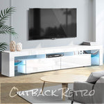 Artiss TV Cabinet Entertainment Unit Gloss 2 Drawers 200cm White