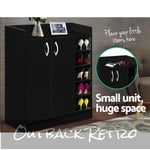 Artiss 2 Doors Shoe Cabinet Storage Cupboard - Black
