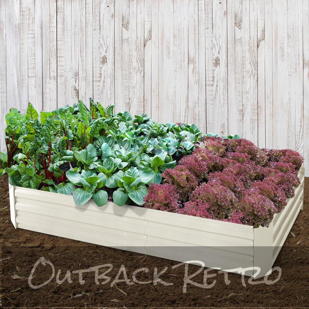 Green Fingers Set of 2 210cm x 90cm Raised Garden Bed - Cream