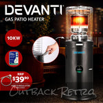 Devanti Gas Patio Outdoor Heater Propane Butane LPG Portable Heater Stand Steel Black