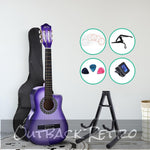 Alpha 34 Inch Guitar Classical Acoustic Cutaway Wooden Ideal Kids Gift Children 1/2 Size Purple with Capo Tuner""