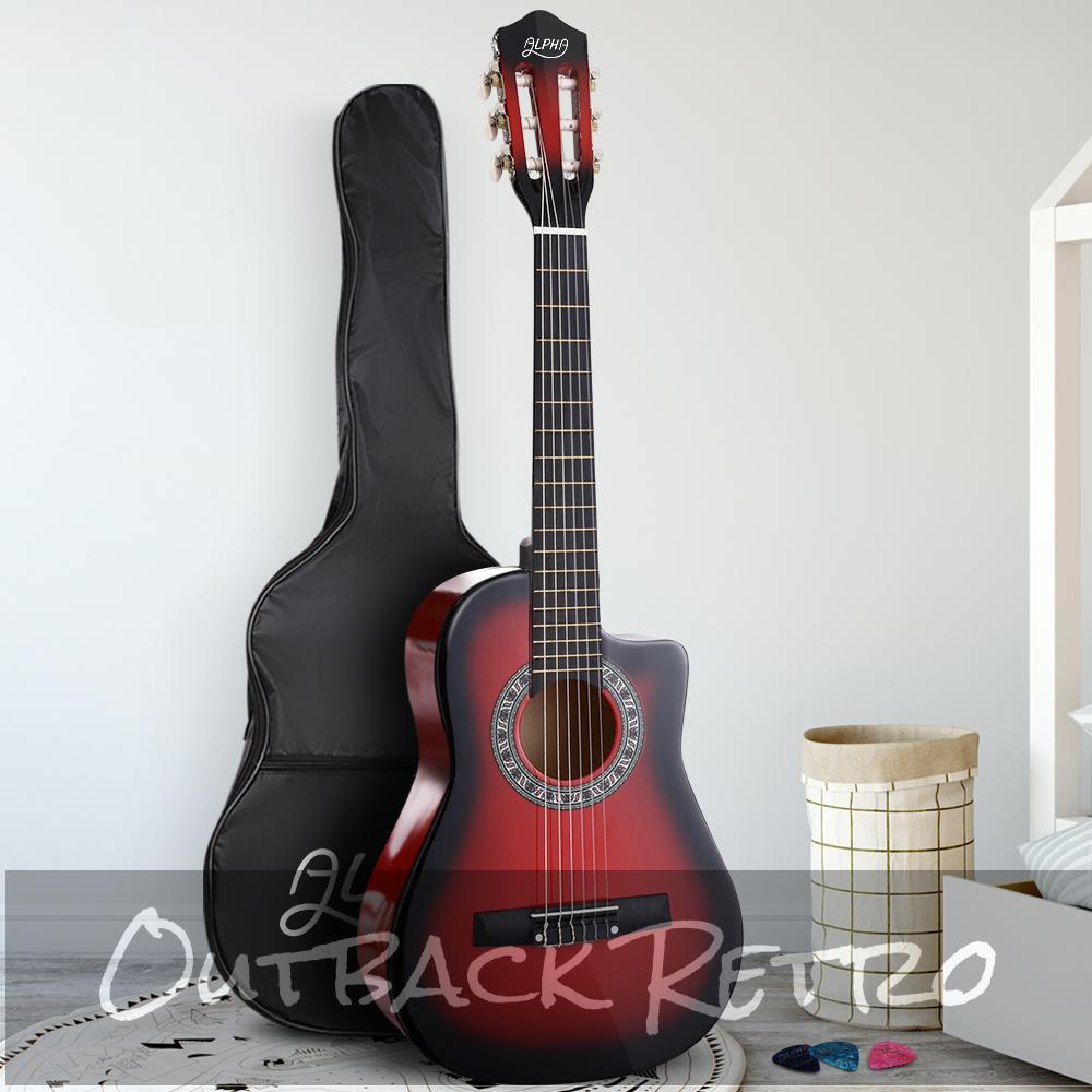 Alpha 34 Inch Guitar Classical Acoustic Cutaway Wooden Ideal Kids Gift Children 1/2 Size Red""