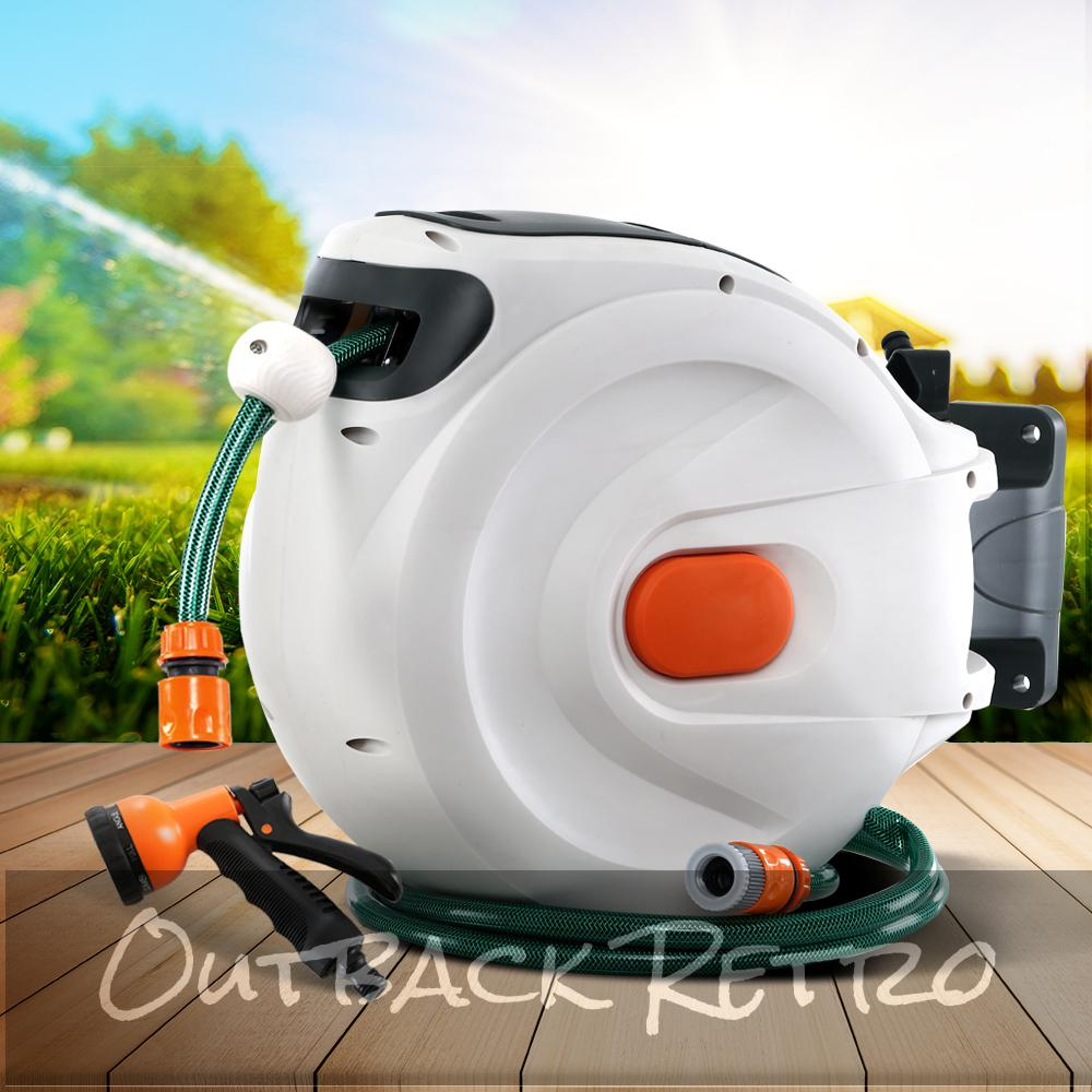 Greenfingers Retractable Hose Reel 30M Garden Water Spray Gun Auto Rewind