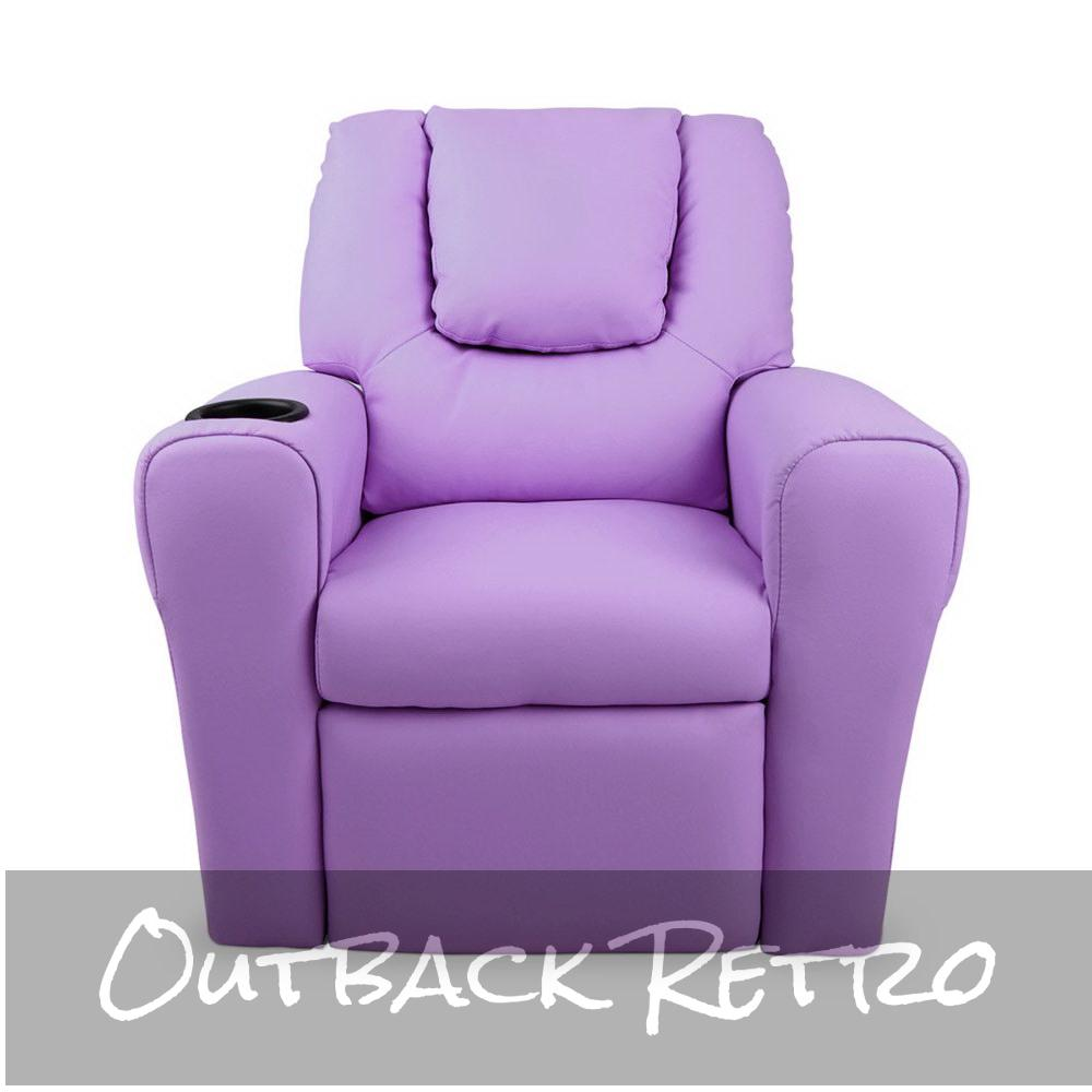 Artiss Kids PU Leather Reclining Armchair - Purple