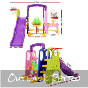 Keezi Kids 7-in-1 Slide Swing with Basketball Hoop Toddler Outdoor Indoor Play