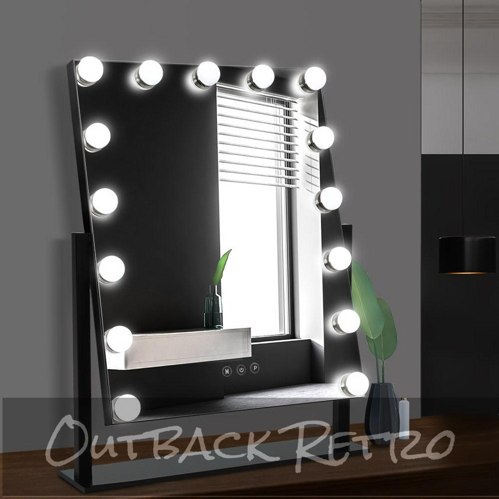 Embellir Makeup Mirror With Light 15 LED Lighted Standing Hollywood Vanity Black