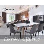 Artiss 2x Dining Chairs Retro Chair Replica New metal Legs High Back Velvet Grey