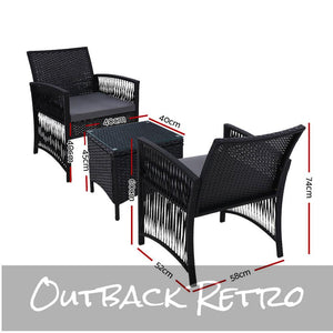 Gardeon Patio Furniture Outdoor Bistro Set Dining Chairs Setting 3 Piece Wicker