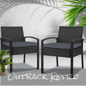 2x Outdoor Dining Chairs Wicker Chair Patio Garden Furniture Set Cafe Cushion Gardeon Black