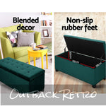 Artiss Storage Ottoman Blanket Box Velvet Foot Stool Rest Chest Green