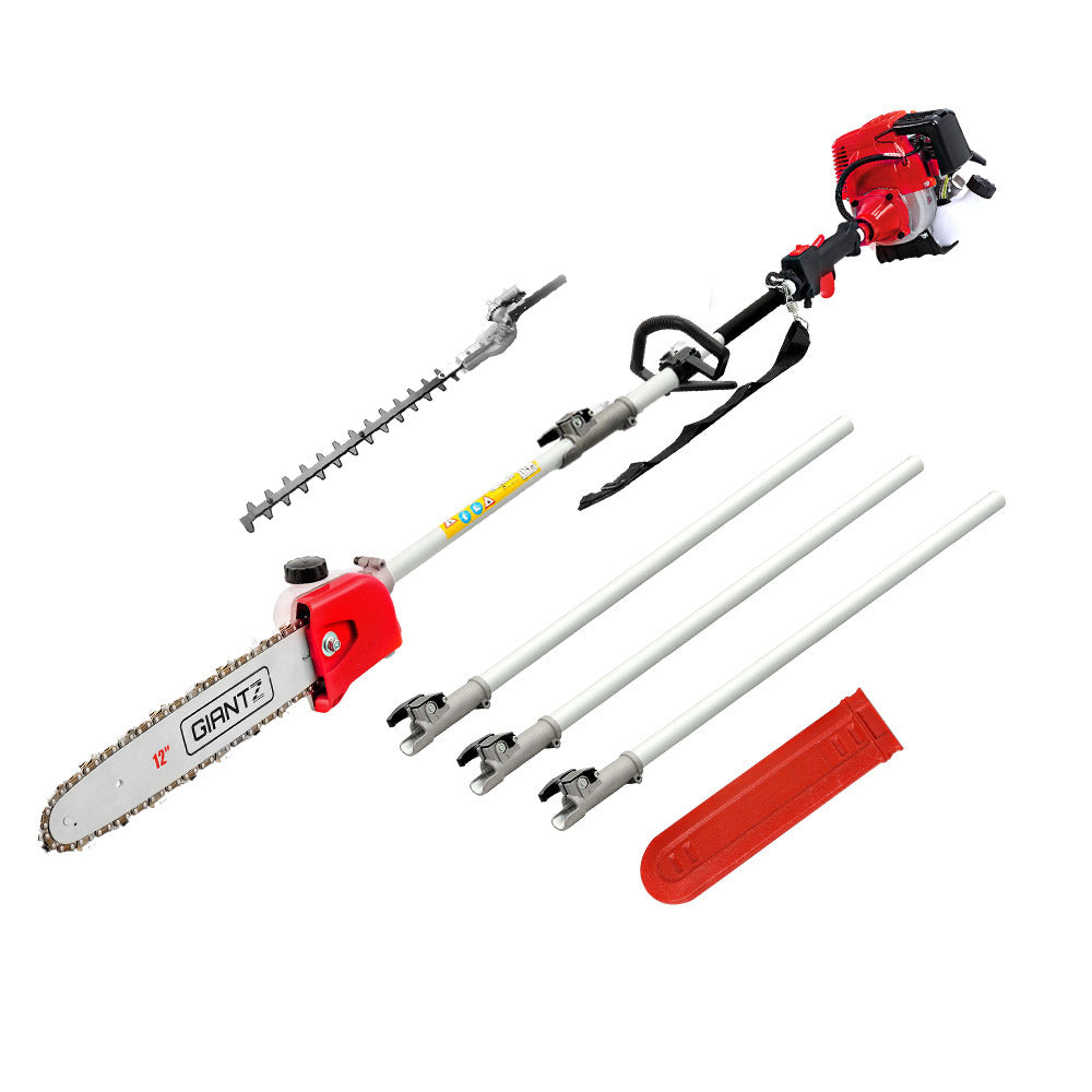 Giantz Pole Chainsaw 4 Stroke Petrol Hedge Trimmer Pruner Kit