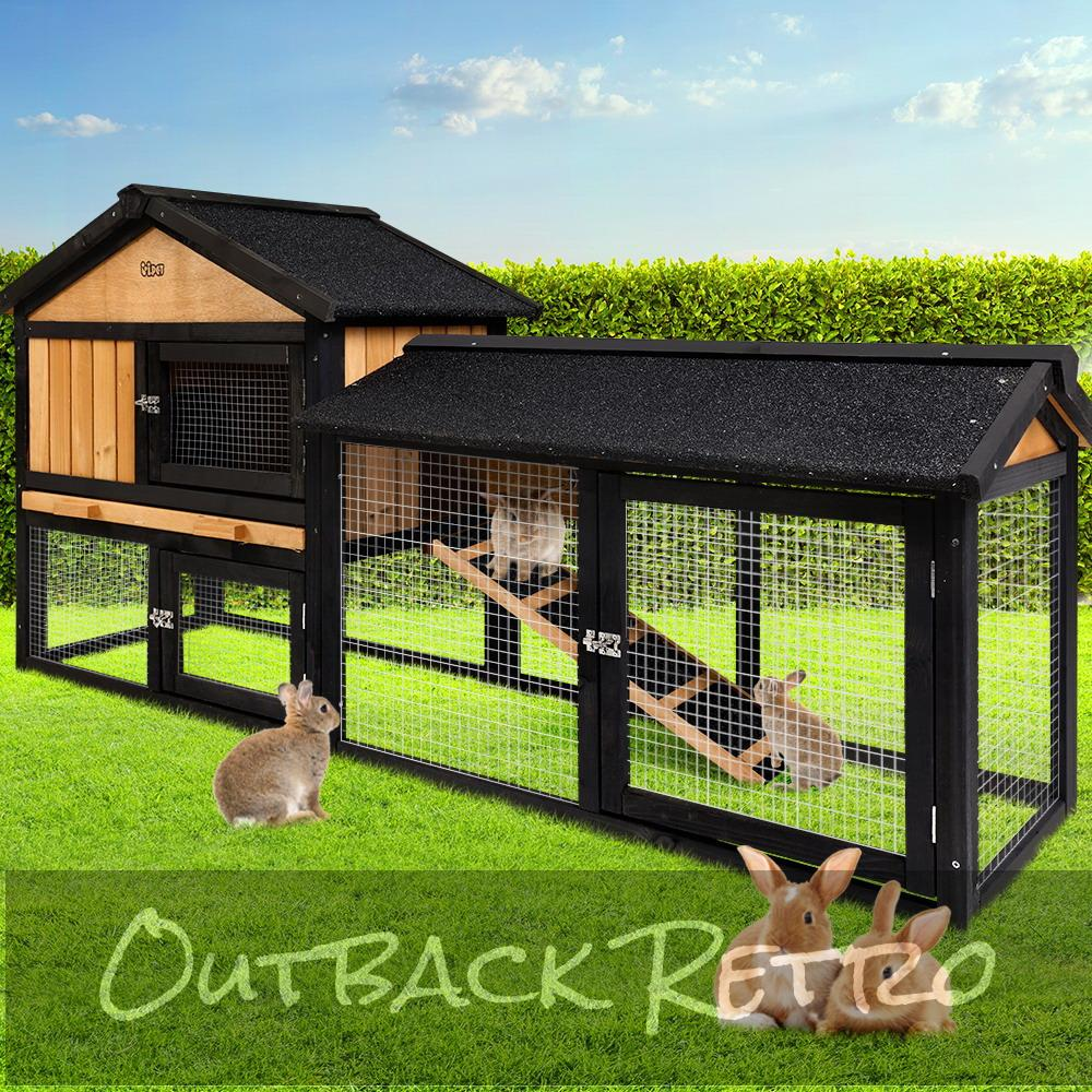 i.Pet Rabbit Hutch Hutches Large Metal Wooden Cage Waterproof Chicken Coop Guinea Pig Ferret Hamster 165cm x 52cm x 86cm