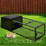 i.Pet Medium Metal Rabbit Hutch - Black