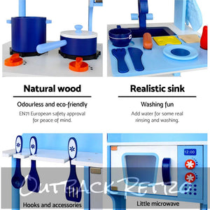Keezi Kids Wooden Kitchen Play Set - Blue