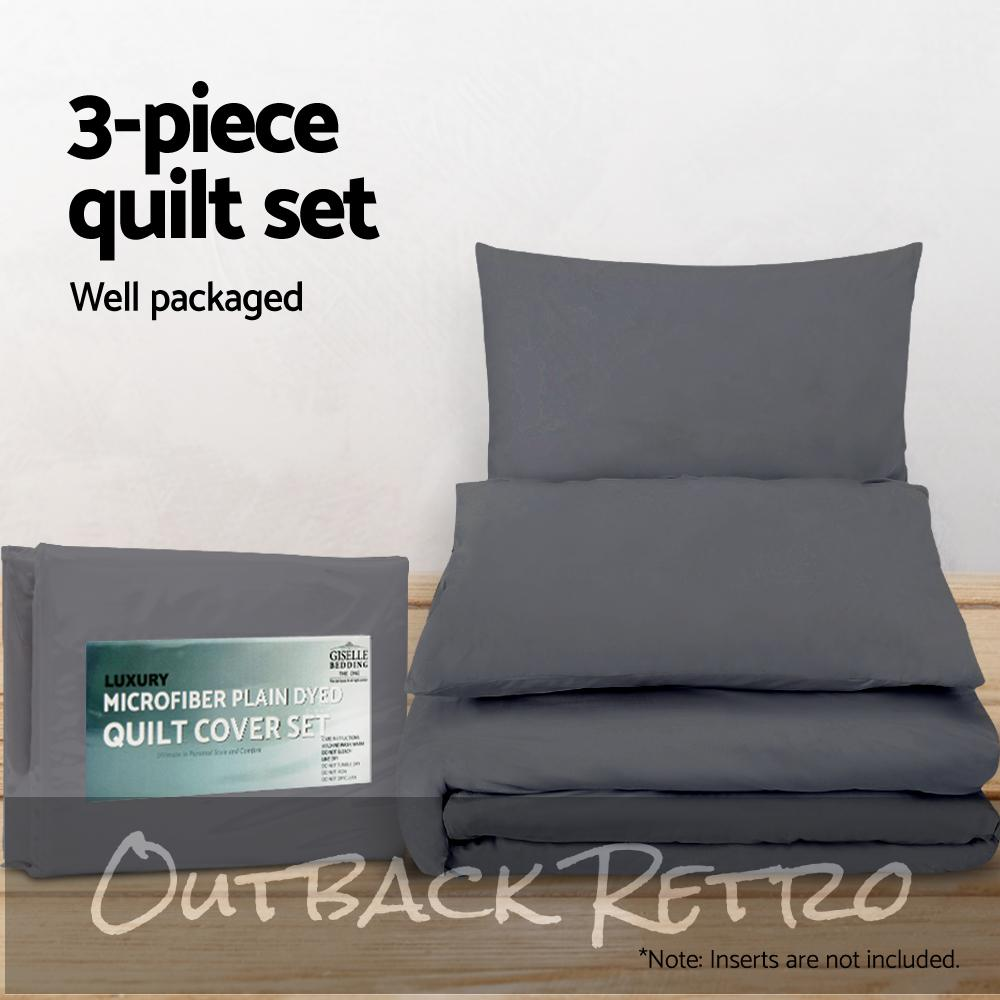 Giselle Bedding King Size Classic Quilt Cover Set - Charcoal