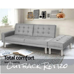 Sofa Bed Lounge Set Futon 3 Seater Couch Recliner Ottoman Fabric