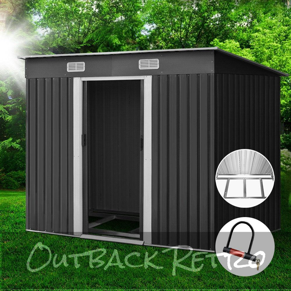 Giantz 2.38 x 1.31m Steel Base Garden Shed - Grey