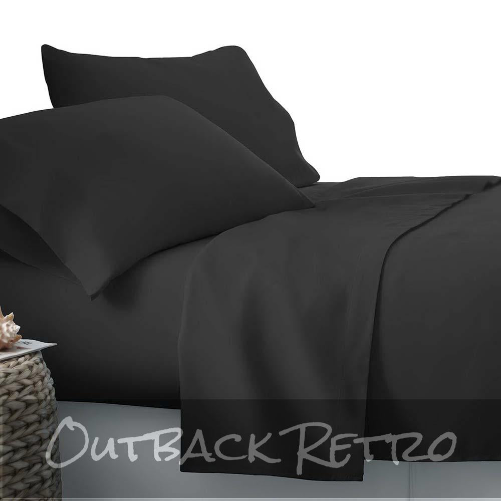 Giselle Bedding Queen Size 4 Piece Micro Fibre Sheet Set - Black