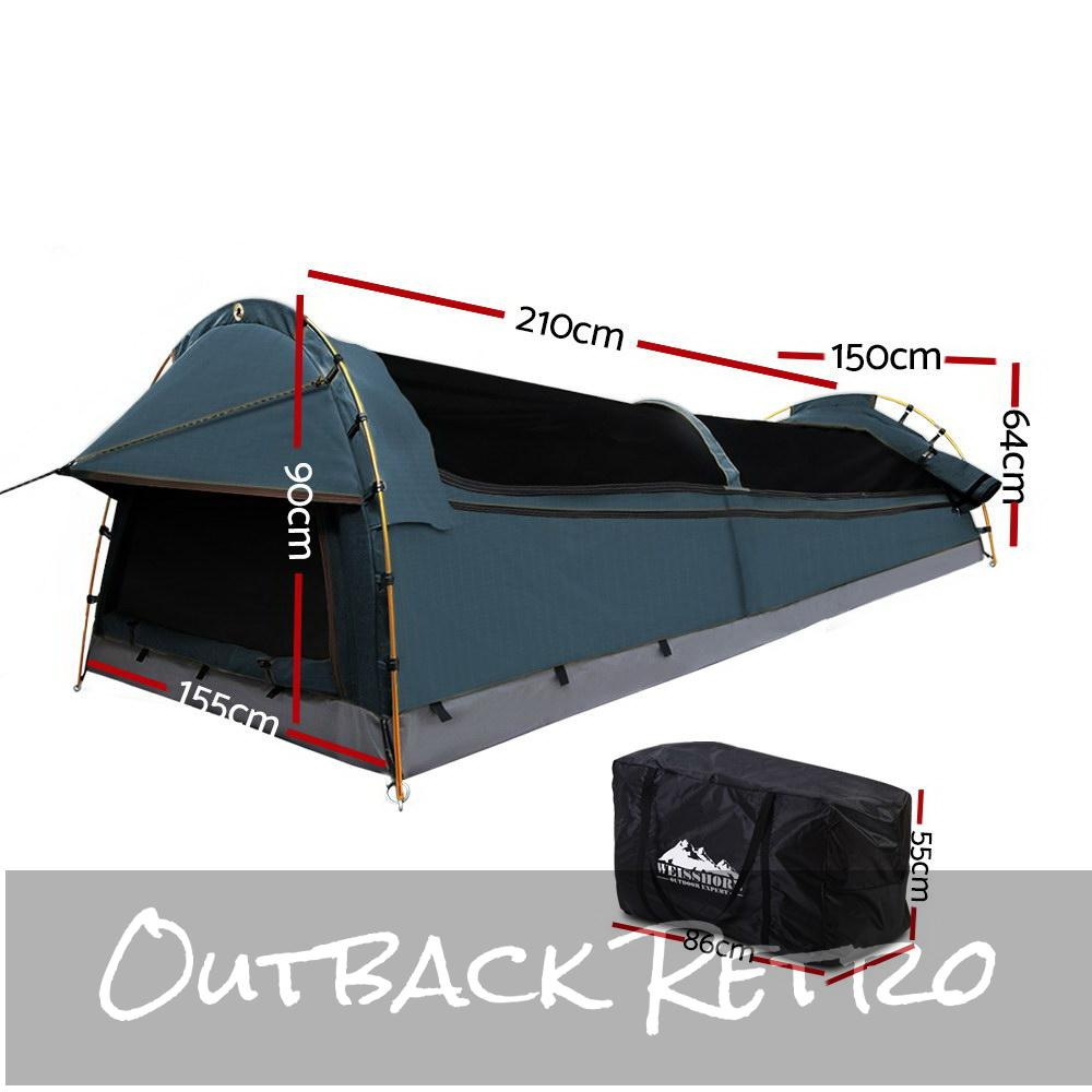 Weisshorn Double Swag Camping Swag Canvas Tent - Navy