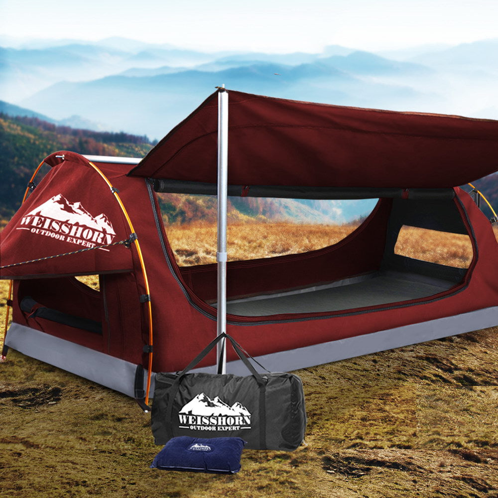 WEISSHORN King Single Camping Swag Canvas - Red
