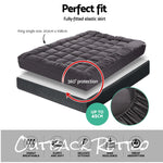 Giselle King Single Mattress Topper Pillowtop 1000GSM Charcoal Microfibre Filling Protector