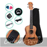 ALPHA 23 Inch Concert Ukulele Electric Mahogany Ukuleles Uke Hawaii Guitar with EQ