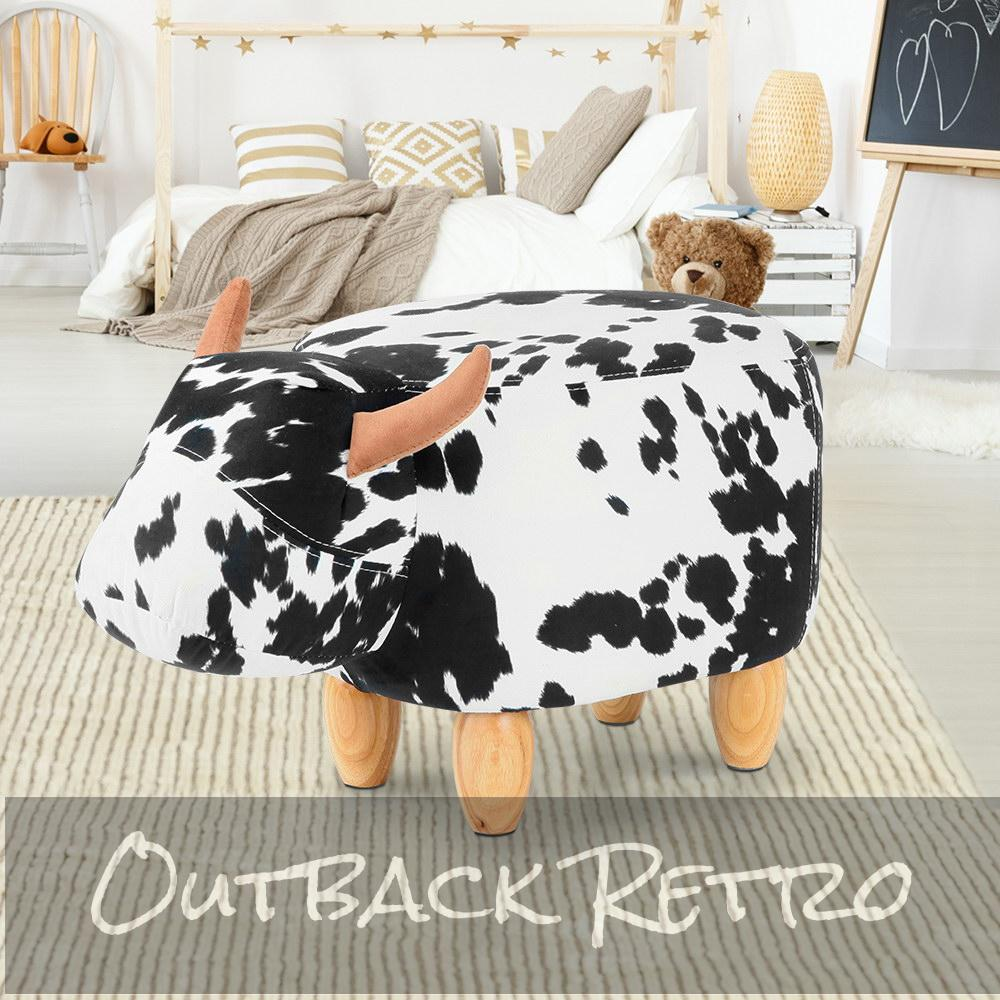 Keezi Kids Cow Animal Stool - Black & White